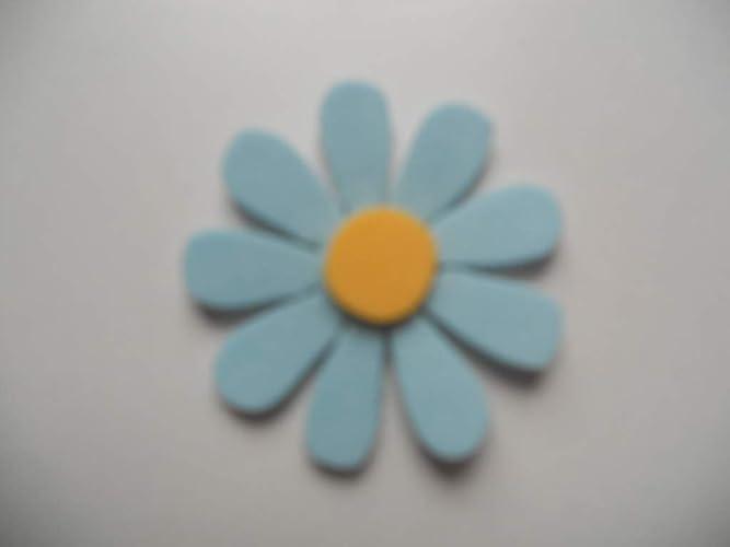 10 Flores de goma eva con 9 pétalos color azul claro y ...