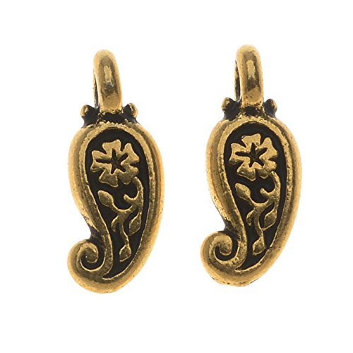 TierraCast Pewter, 2-Side Paisley Flower Drop Charm 12.75x5mm, 2 Pieces, 22K Gold Plated