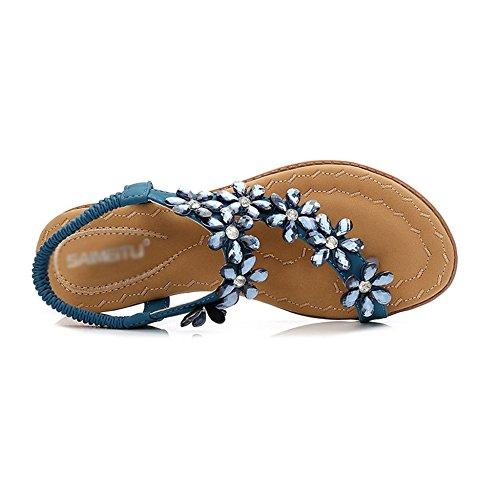 Etnico Strass Blue Pietre Fondo Toe Sandali da Stile Piatto Comfort Donna Clipping Bohemia Aqua wvYOAqa