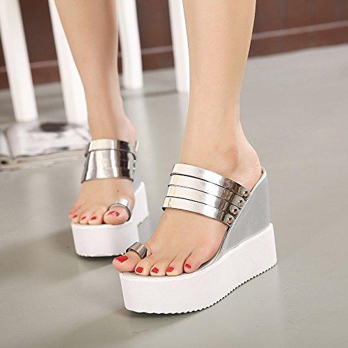 tacco per UE pantofole punta RUGAI Pantofole donna pendenza casual sandali Golden wZqSXxpg
