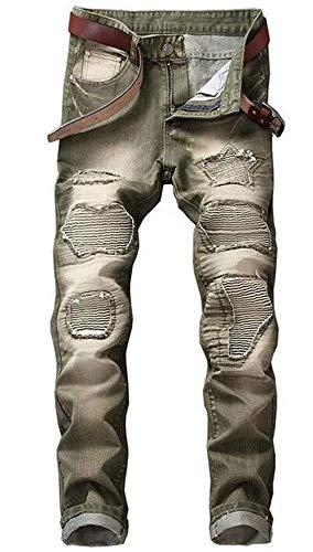Nlichkeit Diritti Ragazzo Marchio Uomini Cotone Grün Cher D'avanguardia Fori Locomotiva Jeans Denim Dei Marea Degli Pantaloni Cowboy Ssig Sottili fax00n7z