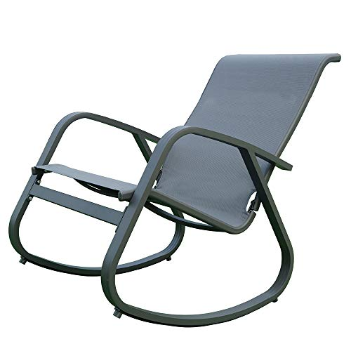 Kozyard Outdoor Contemporary Patio Rocking Sling Chair with Powder Coated Aluminum Frame and Weather Resistant and Breathable Mesh Fabric, Perfect for Patio, Porch, Yard, Garden