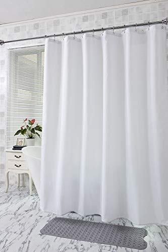 - Amazer Fabric Shower Curtain, White Polyester Fabric Shower Curtain Bathroom Shower Curtains, Water Repellent, Hotel Quality, 72
