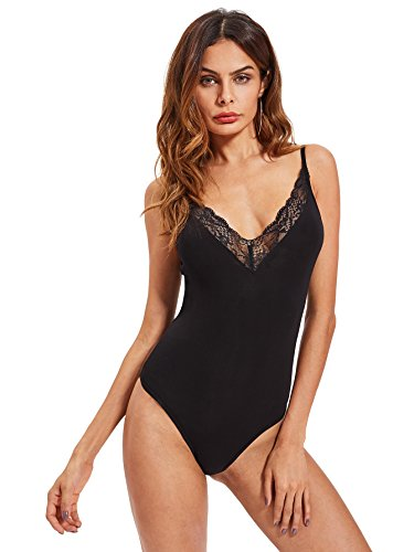 Bodysuit Lace Trim - DIDK Women's Sexy Deep V Plunge Neck Lace Trim Bodysuit Black M