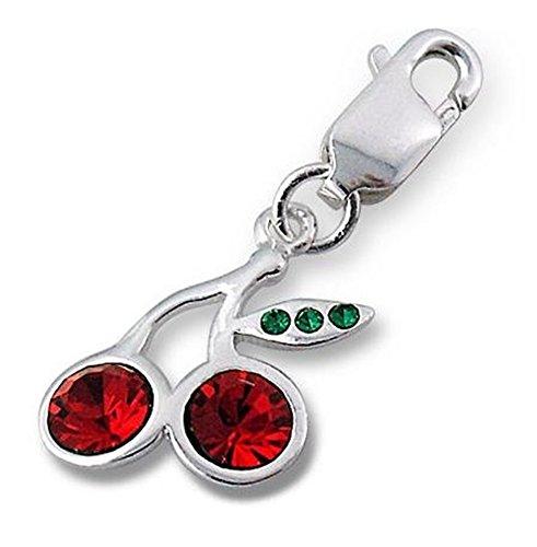 925 clip en argent sterling Cerise sur charme avec pierres de cristal ( env 1.1cm x 1.1cm ) Livré dans un coffret cadeau