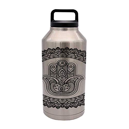 Hamsa Durable 64OZ Stainless Steel Bottle,Ring Shapes with Floral Motifs Ancient Ethnic Culture Traditional Symbol Monochrome for Home Travel Office,4