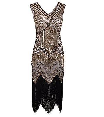 WELOVE 1920s Gatsby Short Prom Dress V Neck Evening Dress Cocktail Dress Flapper Dress
