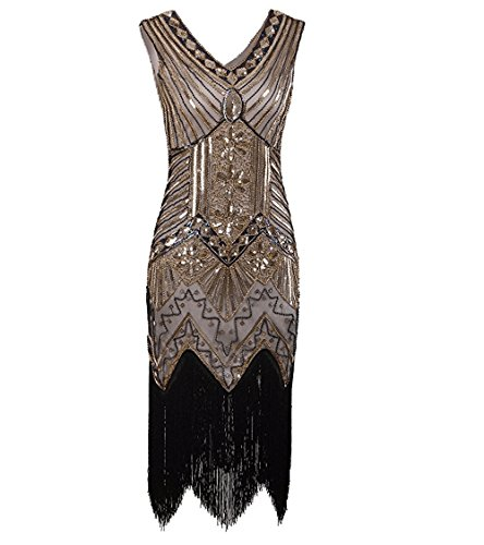 [WELOVE 1920s Gatsby Short Prom Dress V Neck Evening Dress Cocktail Dress Flapper Dress] (Gatsby Dress Cheap)