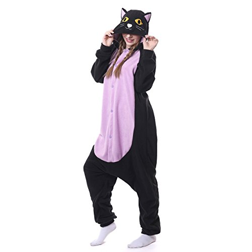 Cheap Cheshire Cat Costumes (ROYAL WIND Unisex-adult Kigurumi Animal Cosplay Costume Pajamas (Small, Purple night cat))