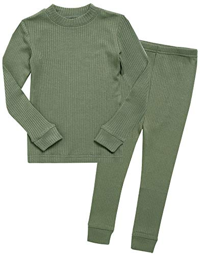 Boys Long Sleeve Modal Sleepwear Pajamas 2pcs Set Rib Knit Khaki L ()