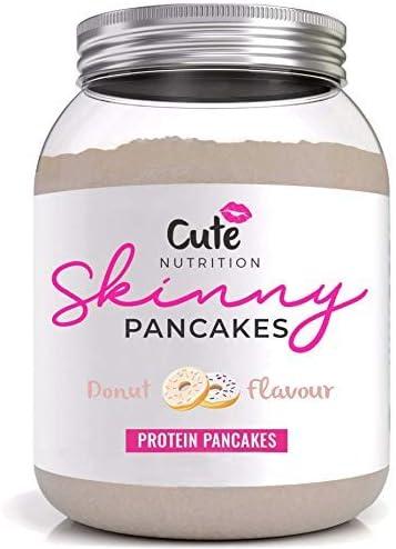Cute Nutrition Mezcla en polvo para panqueques sabor dona para pérdida y mantenimiento de peso 500 tubos Alto contenido de proteína bajo en grasa sin ...