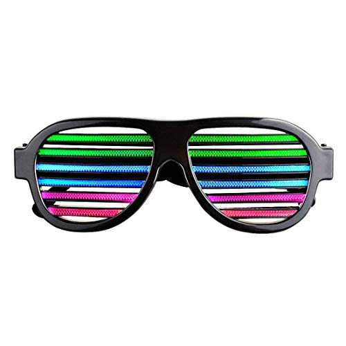Kicsto Sound & Music Reactive LED Glasses Rechargeable Musical Shades, Slotted Shutter Flash Light Eye-wear for Nightclub, Bar, Disco, Carnival, Halloween, Dancing Party, Black -