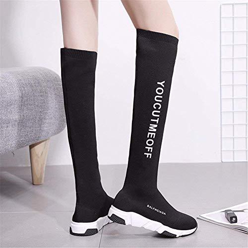 Tube A Eu 36 Mujer 38 Eu Permeability High Rodilla Knitting Botas Sed Knee La negro Elastic 5wPAqzWx7T