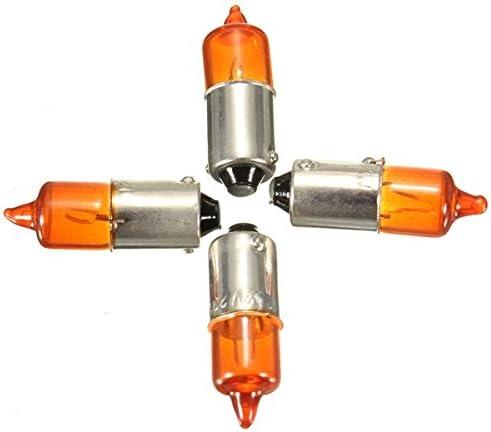 Queenwind 4Pcs 12V 23Wオートバイターンシグナルインジケータ電球Ba9Sベースミニアンバーハロゲンライト