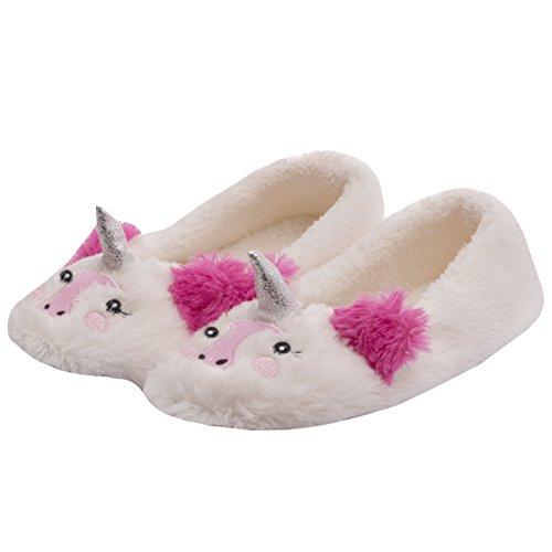 Cream Suela para Comfort Novedad Textil Unicorn mujer Interior sintética Slipper Piel Damas SBxq7P8ww