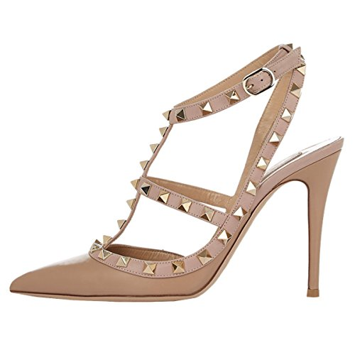 - June in Love Womens High Heels Strappy Sandals Rivets Studs Middle Thin Heels Sexy Sandals Matte Beige US 7.5