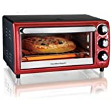 Convection 4-Slice Toaster Ovens (red) Hamilton Beach Keep Warm Broil Bake Bagel and Toast