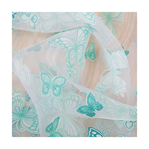 ASide BSide Transparent Window Treatments Sheer Curtains Garden Style Rod Pocket Top Butterfly Burnout Printed For Living Room Dining Room and Bedroom (1 Panel, W 52 x L 63 inch, Turquoise)