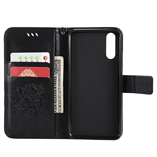 Hülle für Huawei P20, Leder Hülle Flip Case Schutzhülle Ledertasche mit Standfunktion Kredit Kartenfach Baum Schmetterling Katze Cute Muster Handyhülle Cover Magnetisch Brieftasche für Huawei P20, Han Baum Schwarz