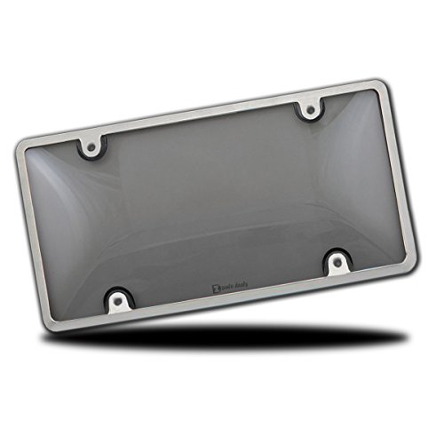 Zento Deals Durable All Weather License Plate Cover and Frame – Unbreakable Smoke Bubble-Tinted Black Cover and Silver Frame-Fits All Standard 6x12 Inches Novelty/License Plates (Covers Tint Smoke)