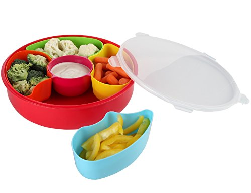 Home-X Sectional Serving Bowl with Cover (Sectional Tray)