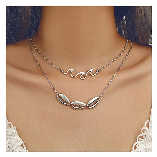 - Chic Layered Pendants Shell Scallop Y-Necklace Women Girls Hawaii Wakiki Beach Boho Choker for Female (Silver Waves Shell)