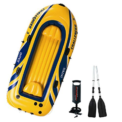 HYYQG Challenger Sea Kayak 2+1 Person Inflatable Canoe with Aluminum Oars and Hand Pump