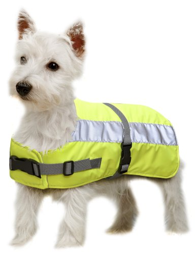 Petlife Warnweste für Hunde, mit warmem Thermofutter, 35,6 cm, fluoreszierendes Gelb