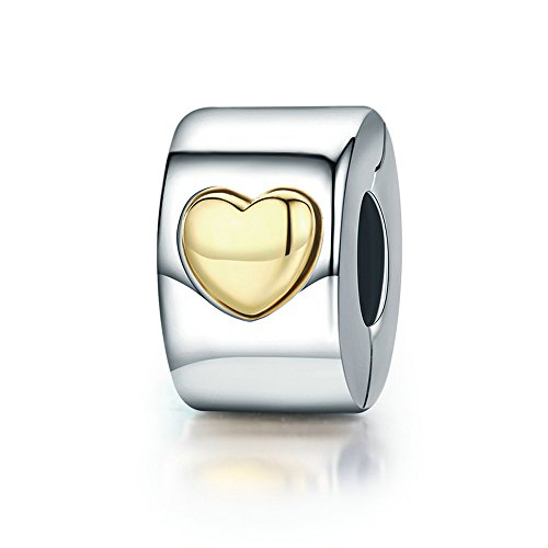 Everbling Love Hearts Goes Round 925 Sterling Silver Bead for European Charm Bracelet (Classic Heart Clip)