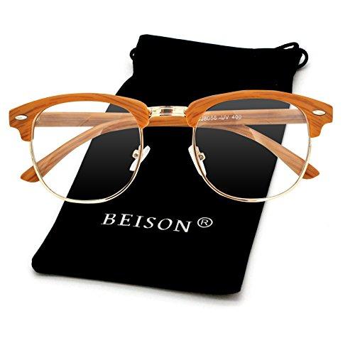 Beison Womens Mens Horned Rim Wayfarer Glasses Frame Nerd Eyeglasses (Wood stripes / Gold, - Wood Eyeglass Gold Frames
