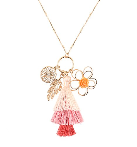 VOGUEKNOCK Tiered Thread Tassel Pendant Long Necklace with Leaf Disc Flower Pendant Accents (Ombre Pink) Ombre Silk Chiffon Dress