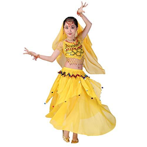 Kids Girls Belly Dance Halter Top Harem Dresses Costume Set Halloween Outfit with Head Veil Waist Chain and Bracelets]()