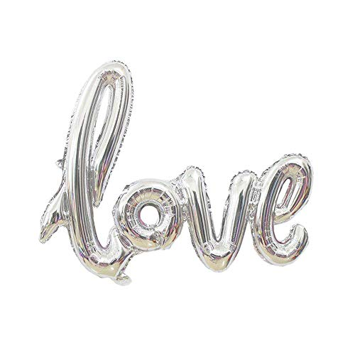 CHQHQ Love Balloon Banner Jumbo Foil Balloon Handwriting Letter Giant Celebration Balloon Romantic Wedding Bridal Shower Anniversary Engagement Party Decoration 42.5 Inches(Silver)
