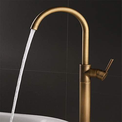 浴槽の蛇口 浴室のための自立型バスタブ蛇口バスタブ蛇口フィラーフロアマウントシャワーの蛇口 (色 : Brass, Size : As picture)