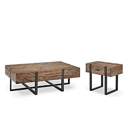 2 Piece Industrial Coffee Table And End Table Set In Rustic Honey