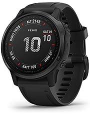 Garmin Fenix 6S PRO GPS-Horloge, voor Volwassenen, 1,2 inch Scherm, Multisport, Muziek en Navigatie, Zwart met Zwarte Band
