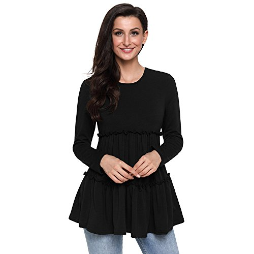 Pullover Tops A Lunghe Qin Black T Slim amp;x Maniche Cxq t Shirt Fit Donna nvwUx