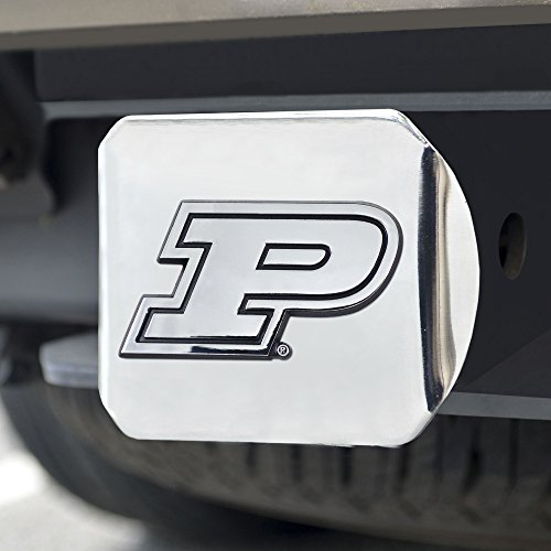 (FANMATS NCAA Purdue Boilermakers Hitch Cover - Chromehitch Cover - Chrome, Team Colors, One Sized)