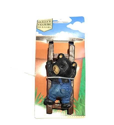 - BEAR Adorable with blue jeans Flower Pot Hugger Figurine!
