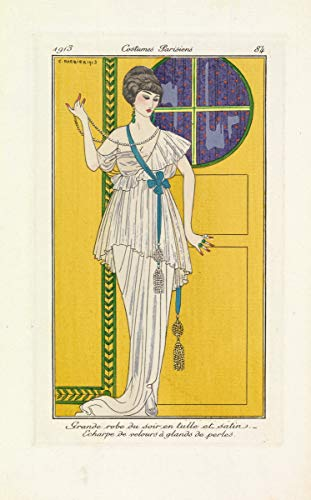Berkin Arts George Barbier Giclee Art Paper Print Art Works Paintings Poster Reproduction(Satin and Tulle Evening Gown with Pearl Tasselled Scarf) #XZZ