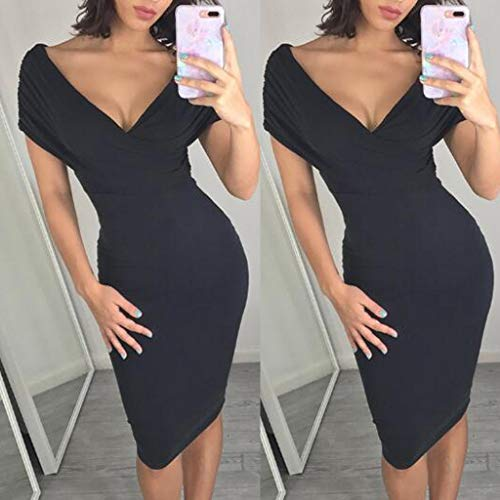 Fashion Womens Pure Color Deep V-Neck Short Sleeve Black Sexy Bodycon Long Solid Dress Party Costume]()