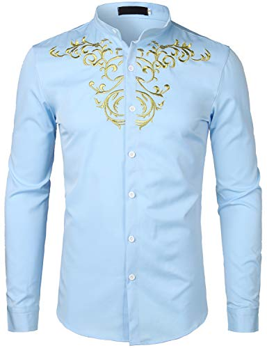 ZEROYAA Mens Hipster Slim Fit Long Sleeve Mandarin Collar Shirts with Designer Embroidery ZHCL07 Light Blue Large