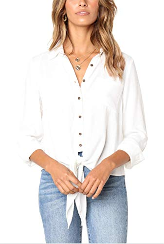(GDL Women Long Sleeve Button Down Shirt Solid V Linen Tie Front Blouses Tops White-XXL)