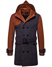 AOWOFS Men's Winter Mid Long Woolen Coat Double Breasted Warm Overcoat Stitching Color Trench Coat