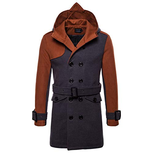 AOWOFS Men's Winter Mid Long Woolen Coat Double Breasted Warm Overcoat Stitching Color Trench Coat Camel from AOWOFS