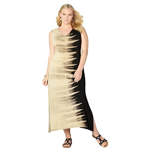 AVENUE Women's Tie Dye Drapeneck Maxi Dress – 22-24 Plus, Tan