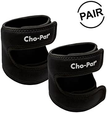 "Cho-Pat Dual Action Knee Strap (Pair) – Provides Full Mobility & Pain Relief for Weakened Knees – Black (Large, 16""-18"")"