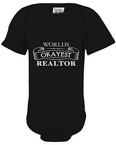 shirtloco Baby Worlds Okayest Realtor Onesie Bodysuit, Black 24 Months