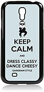 linJUN FENGKeep Calm and Dress Classy Dance Cheesy-Blue-Hard Black Plastic Snap - On Case with Soft Black Rubber Lining-Galaxy s4 i9500 - Great Quality!