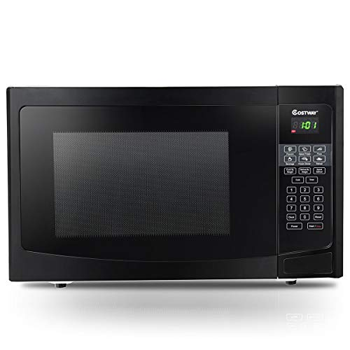 COSTWAY Programmable Microwave Oven Countertop Convection Smart Sensor Easy Clean Interior and LED Lighting with Auto and Time Defrost, Quick cook setting 1000W,1.1 cu.ft